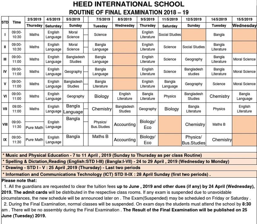 Final Exam Routine for STD-I-STD-IX-Routine-18-19